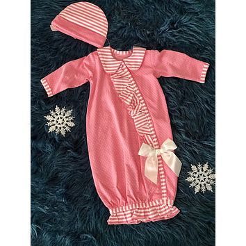 2018 Fall Adorable Ruffle & Stripped Pink Infant Gown With Hat