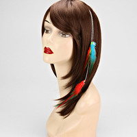 Feather Hair Extension Turquoise Red