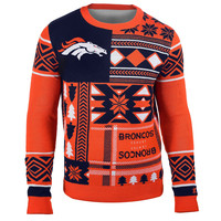 Denver Broncos Forever Collectibles KLEW Patches Ugly Sweater Sizes S-XXL w/ Priority Shipping