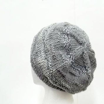 Knitted beanie beret hat, gray and brown 5284
