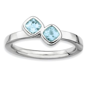 Sterling Silver & Aquamarine Stackable 2 Stone Cushion-cut Ring