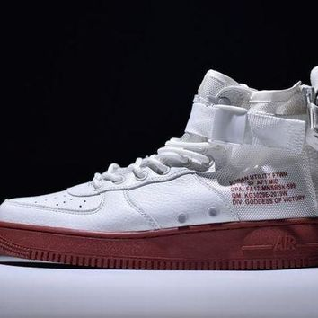DCCKL8A Jacklish New Nike Special Field Sf Air Force 1 Mid Ivory-dark Red Free Shipping Sale