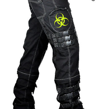 Cryoflesh Biohazard Cyber Fallout Gothic Metal Industrial Hardcore D-ring Mens Pants