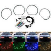 iJDMTOY Multi-Color 120-SMD RGB LED Angel Eyes Halo Ring Lighting Kit w/ Remote Control for BMW E36 E46 E38 E39 3 5 7 Series