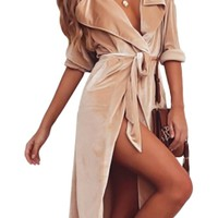 Undercover Lover Velour Long Sleeve Tie Belt Outerwear Trench Coat - 2 Colors Available