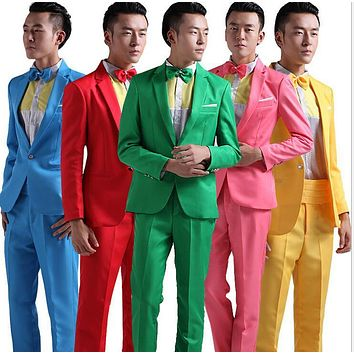 Suit Men New 2017 Long-Sleeved Men's Suits Dress Hosted Theatrical Tuxedos For Men Wedding Prom Red Yellow Blue And Green M L XL
