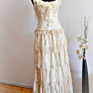 Cream Lace Bohemian Wedding Dress  Bridal Wedding Gown - Handmade by SuzannaM Designs