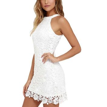 Women Elegant Wedding Party Sexy Night Club Halter Neck Sleeveless Sheath Bodycon Lace Dress Short Plus Size