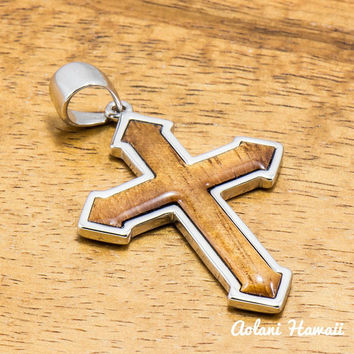 Koa Wood Cross Pendant Handmade with 925 Sterling Silver (30mm x 35mm FREE Stainless Chain Included)