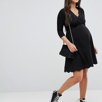ASOS Maternity NURSING Scallop Wrap Skater Dress at asos.com