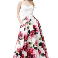 Evening Prom Dress With Printed Skirt