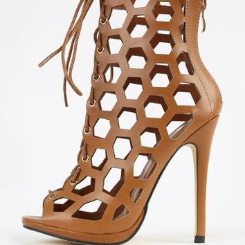 Lace Up Hexagon Cut Out Leatherette Heels | MakeMeChic.com