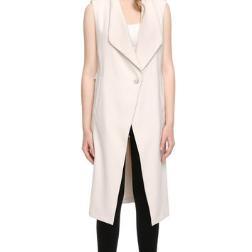 CHERILYN long sleeveless vest with draped collar | SOIA &amp KYO