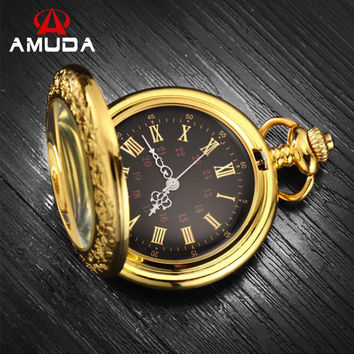 Gold Pocket watch Vintage Pendant Watch Necklace Chain Antique Fob Watches Roman Number Clock Pocket Relogio bolso