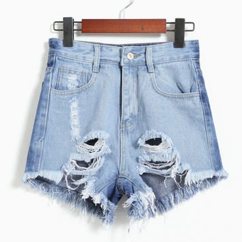 Korean Denim Shorts High Rise Ripped Holes Pants Jeans [4920504516]