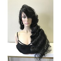 "Natural Black Deep Waves Human Hair Blend Parting lace front wig 30"" -Val"