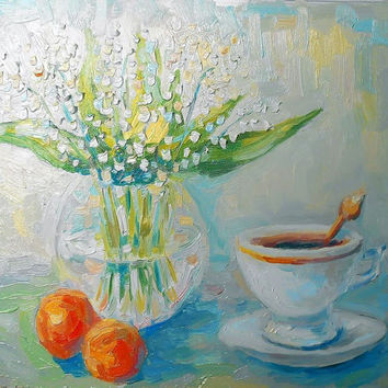 "Flowers Still Life ""Lilies and a cup of coffee"" Oil Painting, Impasto, Decor, Gift Idea, Made to Order, Lilies in a vase, bouquet of flowers"