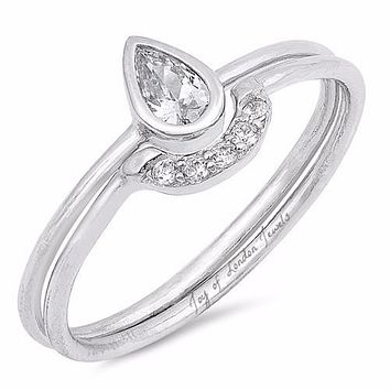 A perfect .5CT Pear Cut Russian Lab Diamond Teardrop Bridal Set Wedding Band Ring