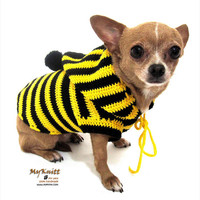 Bumble Bee Costume Dog Crochet Hoodie Sweater Pets Clothing D885 - Free Shipping