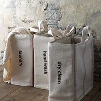 """Dry Clean"" Tote - Red Stripe - French Laundry Home"