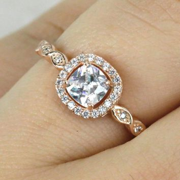 Cushion-Cut Halo Engagement Ring/.925 Sterling Silver Ring/ Rose Gold Ring/Promise Ring/Anniversary Ring Wedding Ring S142