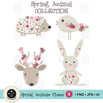 Cute Spring Animals Flower Clip art,clip art flower,flower clipart, clip art wedding,digital download-BUY 1 GET 1 FREE!  Use Code: 1GET12016