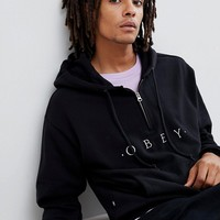 Obey 1/4 Zip Hoody With Logo In Black at asos.com
