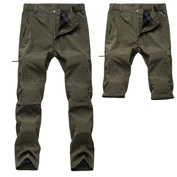 Men Summer Quick-Drying Pants Mountain Pants Casual Trousers Breathable Waterproof Pants Detachable Trousers