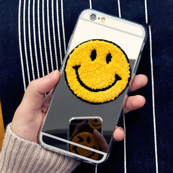 Cute Plating Mirror & Clear Smile Blink Funny Phone Case