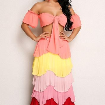 Having It All Short Sleeve Off The Shoulder Crop Tiered Pleated Two Piece Casual Maxi Dress