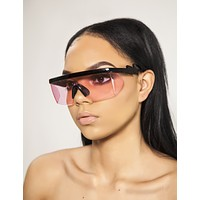 Pink Retro Wrap Sunglasses