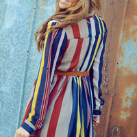 Sweet And Simple Stripes Dress: Multi | Hope's