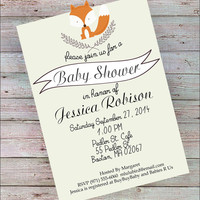 CUTOUT EARS! Fox Baby Shower Invitation Printed or Downlaod gender neutral vintage Rustic Modern Green Birthday woodland nature fall autumn