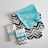 Personalized DOUBLE MINKY CHEVRON Baby Boy Blanket Plus 2 Burp Cloths - Turquoise and Gray