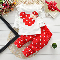 Fashion 2016 Baby Set Dot Cotton Baby Girl Clothes Kids Clothing Set Girl (Pants+T-shirt) Christmas For Baby Suit Mutli-Colors