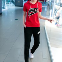 NIKE Fashion Casual Embroidery Stitching Letter Short Sleeve Hooded Set Two-Piece Sportswear-3