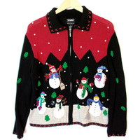 Floating Snowmen Tacky Ugly Christmas Sweater