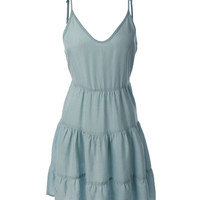 LE3NO Womens Sleeveless Ruffle Flowy Denim Dress (CLEARANCE)