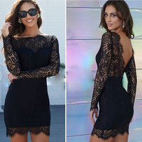 Sexy Black Lace Hollow Out Backless Bodycon Short Dress