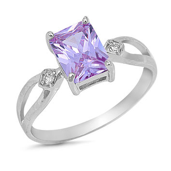 Sterling Silver CZ Simulated Lavender Amethyst Rectangular-Cut Center Ring 8MM