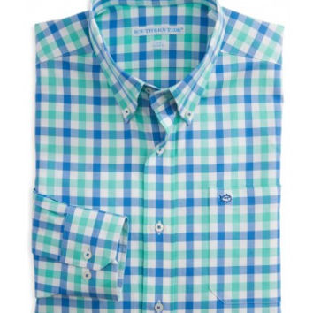 Atlantic Check Classic Fit Sport Shirt in Bermuda Teal by Southern Tide