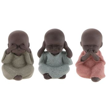 3x Buddha Statue Monk Tea Pet for Zen Garden Sand Decoration Meditation Home Office Decoration