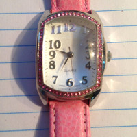 Womens Pink Leather Band Watch