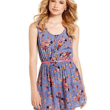 American Rag Juniors Romper, Sleeveless Belted Floral-Print - Juniors Jumpsuits & Rompers - Macy's