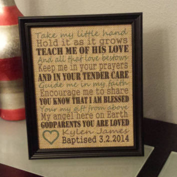 Framed Burlap Print - Baptism Frame - Gift for Godparent - Godmother - Godfather - Religious Dedication - Baptismal - 8x10