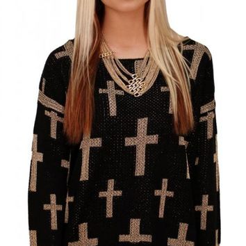 Black Tinsle Cross Sweater