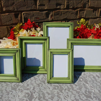 Cottage chic photo frames: Set of 5 vintage apple green hand-painted decorative tabletop picture frames