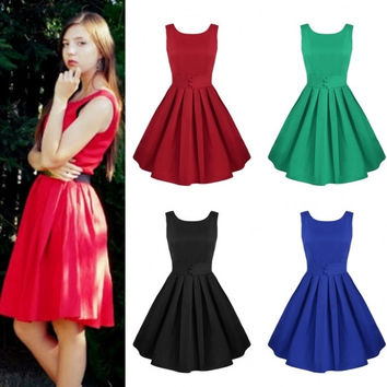 Lady Women's Fashion Sleeveless O-neck Pleated Swing Dress Sundress