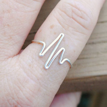 Wire Wrapped Ring Silver Heartbeat