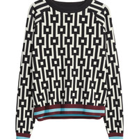 H&M - Jacquard-knit Sweater - Black - Ladies